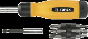 Отвертка с трещоткой и насадками TOPEX 39D518