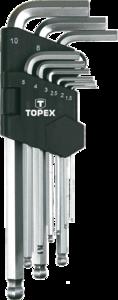 Набор удлиненных шестигранников с шариком 9шт TOPEX 35D957