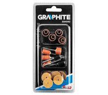Набор аксессуаров для мини дрели, шлифовальные ленты, навесные наконечники, диски из наждачной бумаги, 52 шт GRAPHITE 55H082