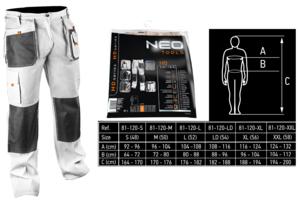 Фотография белых рабочих брюк NEO Tools 81-120